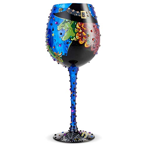 Lolita Halloween Wine Glasses (Enesco 6004428 Designs by Lolita Bling Cast a Spell Hand-Painted Artisan Wine Glass 22 Ounce)