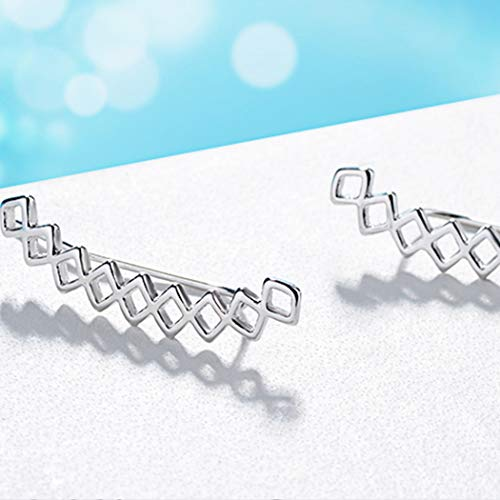 Minimalist Sterling Silver Geometric Connected Rhombus Ear Cuff Hoop Climbers Earring For Women Hypoallergenic