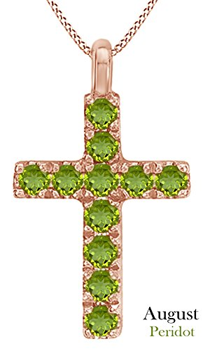 AFFY Round Cut Simulated Peridot Cross Pendant Necklace in 14k Rose Gold Over Sterling Silver ()