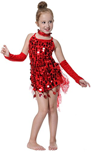 Costumes Dance Latin (Kid's Sequins Latin Dance Dress School Show Set Halloween)