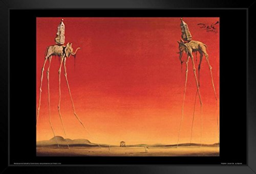 (Salvador Dali Les Elephants 1948 Oil On Canvas Spanish Surrealist Painting Art Print Framed Poster 20x14 inch)