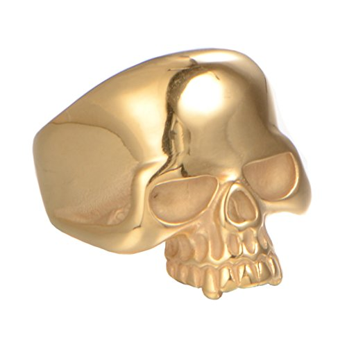 INRENG 316L Stainless Steel Men's Cool Golden Skull Head Ring Punk New Jewelry Gold Size (Deaths Head Ring)