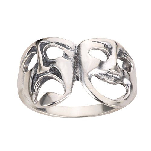 Comedy Tragedy Theatre Mask Ring Sterling Silver 925