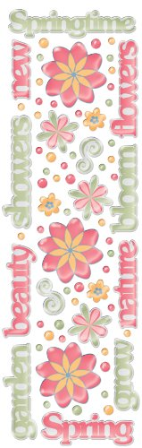 (Fiskars Rain Dots Dimensional Epoxy Stickers, Springtime Words and Shapes)