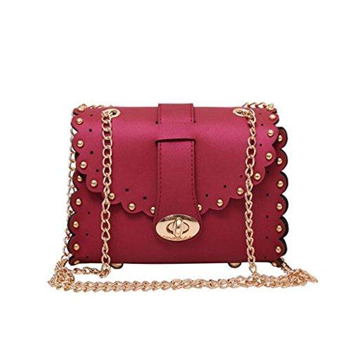Liu Yu·casa creativa Bolso de Crossbody Bolso De Mujer Bolsos De Hombro Bolsos De Gelatina Scrub Messenger Bags Sacos De Cadena De Moda (Tamaño: 18 * 9 * 14cm) (Color : Green) Red
