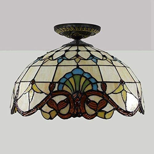 DIMPLEYA *home Simplicity* 16 Inch Ceiling Lights, Tiffany Style Ceiling Lamp With Baroque Style Stained Glass Lamp,retro Livingroom Decoration Lights