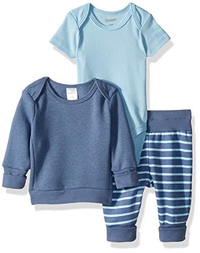 Hanes Ultimate Baby Flexy Fleece Jogger with Sweatshirt and Bodysuit Set, Blue Stripe 6-12 Months