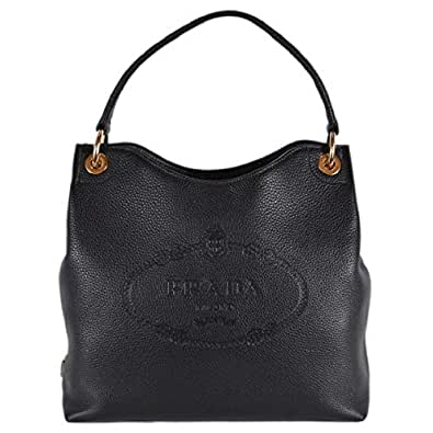4d54b482af95 Prada Women's Vitello Daino Black Leather Satchel Bag Handbag 1BC051 ...