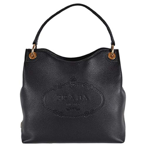 (Prada Women's Vitello Daino Black Leather Satchel Bag Handbag 1BC051)