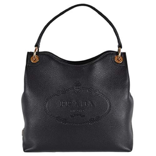 Prada Women's Vitello Daino Black Leather Satchel Bag Handbag 1BC051