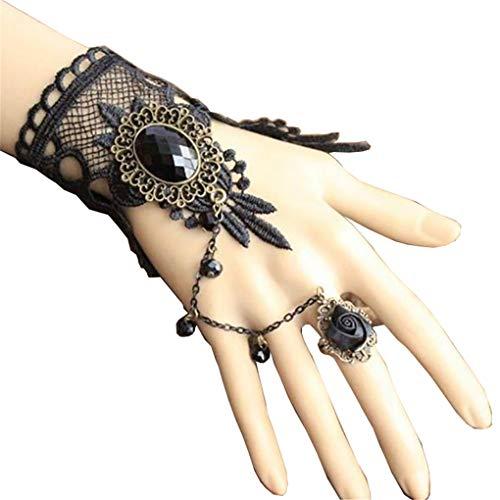 Countonme Handmade Gothic Princess Lolita Retro Lace Slave Vampire Bracelet with Finger Ring Set Wristband Halloween for Women