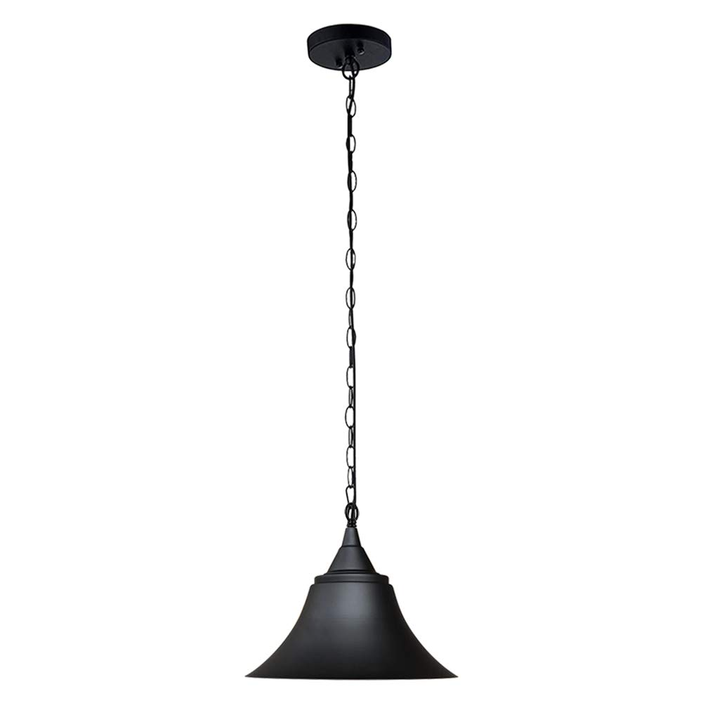 T&A Bell Industrial Pendant Lights Black Metal Finish Shade with Wire and Chain,1-Light Edison Vintage Style Hanging Lighting