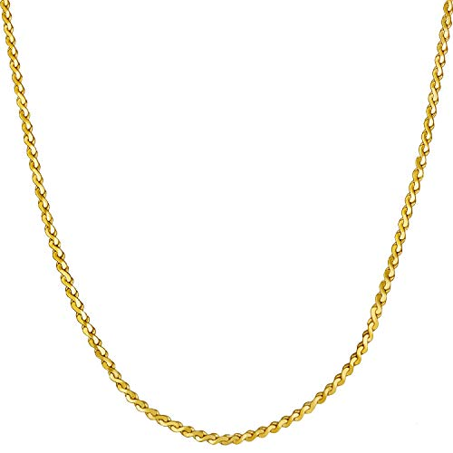 Lifetime Jewelry Gold Necklace for Women & Girls [ 1.4mm Serpentine Chain ] 20X More Real 24k Plating Than Other Thin Pendant Necklaces - Dainty and Simple - Lifetime Replacement Guarantee 16'' (16.0)