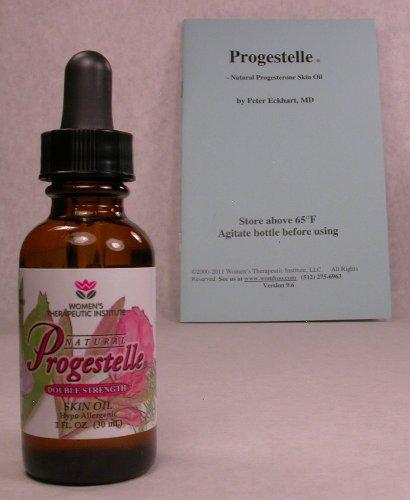 Progestelle progestérone huile Purer que la progestérone crème, bio-identique, naturel, topiques - sans conservateur, sans parfum, ni émulsifiant et Livret de 1 oz 800 mg / oz Double Strength