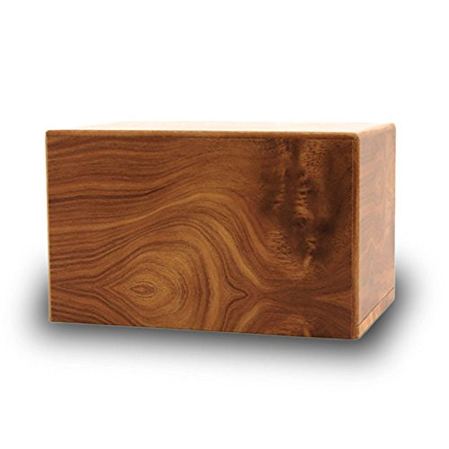 Box Wood Memorial Urn for Cats and Dogs - Medium - Holds Up to 125 Cubic Inches of Ashes - Brown Pet Cremation Urn for Ashes - Engraving Sold Separately