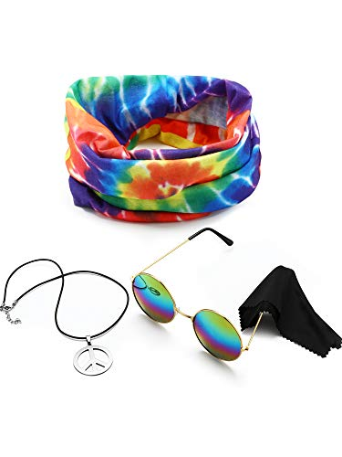 3 Pieces Hippie Costume Set, Include Peace Sign Necklace, Headband, Sunglasses for Theme Parties (Style A) -