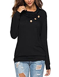 onlypuff Womens Long Sleeve Sweatshirt Solid Color Casual Tunic Tops