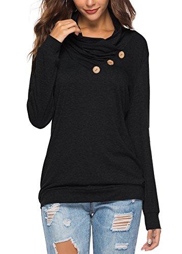 KISSMODA Womens T-Shirt Long Sleeve Sweatshirt Solid Color Casual Blouses Tops