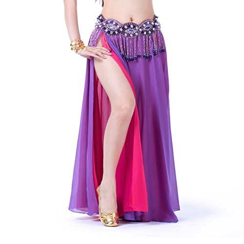 ESHOO Femmes Danse du ventre Costume de Danse Jupe en mousseline de soie Mixte Couleur Double Split Violet