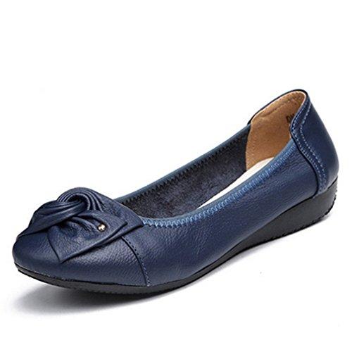 mujer las de Work de la ballet cuero otoño de de femeninos casuales la manera del Zapatos Classi Pisos genuino señoras del de Rose1 Bowknot primavera Zapatos la Bridfa q4I7Ow5