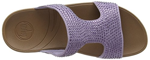 Fitflop Rokkit Slide - Sandalias de cuero mujer púrpura - Purple (Summer Lilac)