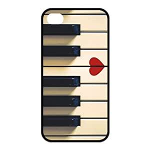 iPhone 4 4S Case,Vintage Retro Piano Keys And Red Heart High Definition Fantastic Design Cover With Hign Quality Rubber Plastic Protection Case