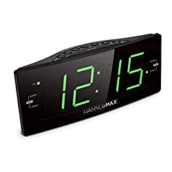 HANNLOMAX HX-112CR Alarm Clock Radio, PLL AM/FM Radio, Green LED 1.8 inches Jumbo Display, Dual Alarm, Dimmer, AC Operation only.