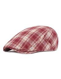 RICHTOER Summer Newsboy Ivy Cap Women Men's Flat Cap Plaid Beret Cabbie Hunting Hat