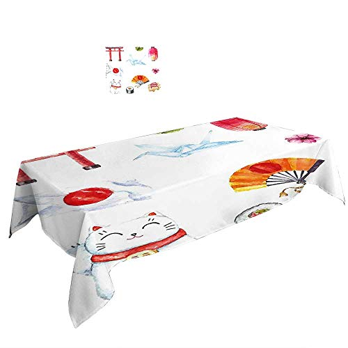 Warm Family Rectangle Tablecloth Japanese Hand Drawn Traditional Elements Watercolors Torii Gate Origami Bird Flag Lacky Cat Multicolor. duitable All Occasions, W29.5 x L69