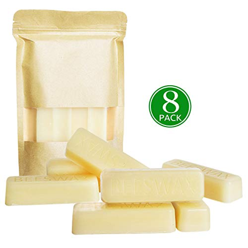 YYHC White Beeswax Bars (8x1oz Bars) Pure Bees Wax - 3X Filtered, Easy Melt Bricks- for DIY, Candles, Skin Care, Lip Balm Bees Wax