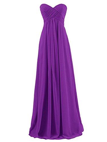Chiffon Violett Günstig Ballkleider Brautjungfernkleider JAEDEN Partykleider Trägerlos Abendkleider Lang OxqxEB8p