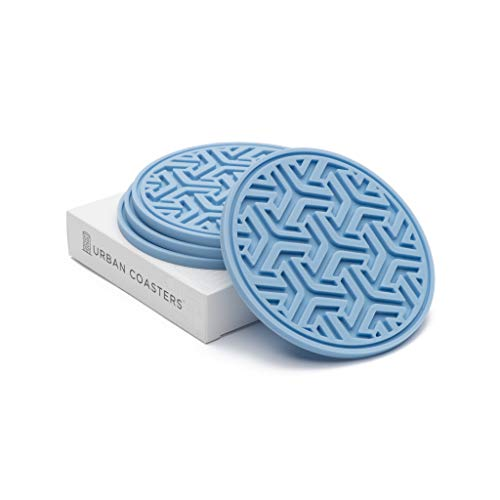 Set of 4 Silicone Coasters Made in USA (Dusk Blue) ()