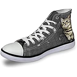 Coloranimal Cute Cat Prints Casual Canvas Flat Women Comfort High Top Walking Shoes US10.5