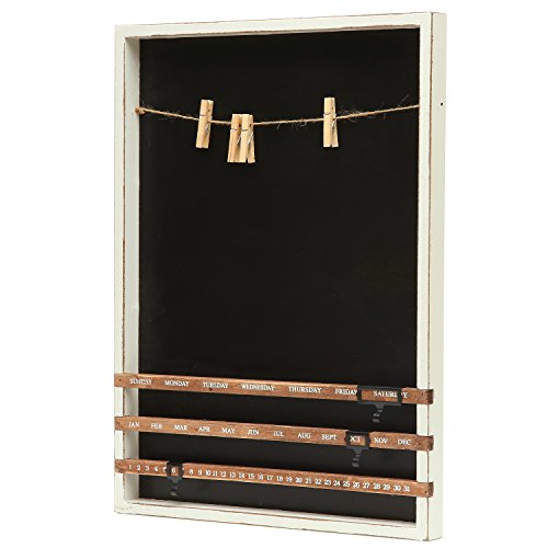 wall mounted wood frame chalkboard w vintage wood sliding calendar clip photo holder w twine