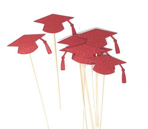 Grad Hat Centerpiece Sticks DIY Graduation Decor Double Sided Glitter 8 Pack (Red) -