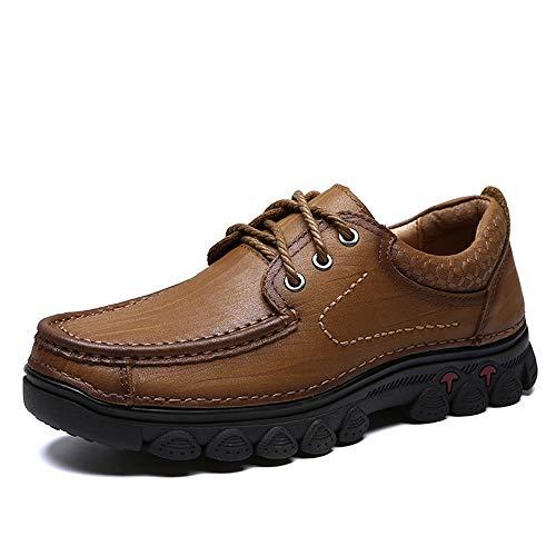 Qiusa con U Tip Libre Suela para Caminar tamaño Zapatos Zapatos Antideslizante 39 al Marrón Aire Hombres Color Cordones para EU Soft cómoda rPArq7g