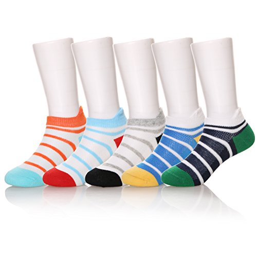 Eocom 5 Pack Kids Girls Boys Low Cut Cotton Soft Breathable Socks (Striped, 12-15 Years) ()