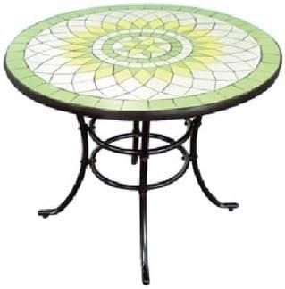Mesa de jardín de acero redondo llano cerámica, 92 x 72 cm: Amazon.es: Hogar