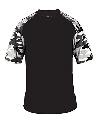 Blank Front/Back Black/White Camo Adult 2X Sleeve Wicking Jersey Uniform Shirt
