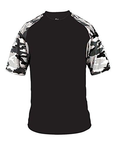 Blank Front/Back Black/White Camo Adult 4X Sleeve Wicking Jersey Uniform Shirt