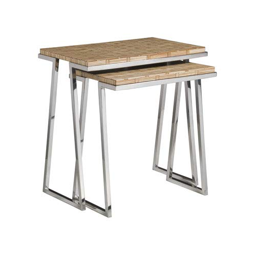 Artistica Home Signature Designs Brown and Stainless Steel Thatch Nesting Tables by Artistica Home
