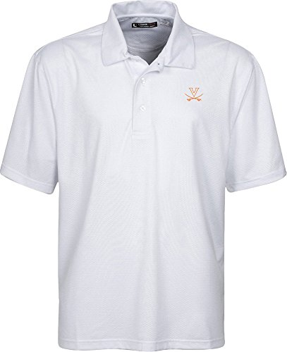 Oxford NCAA Virginia Cavaliers Men's Links Tech Stretch Tonal Jacquard Short Sleeve Polo Shirt, Small, White