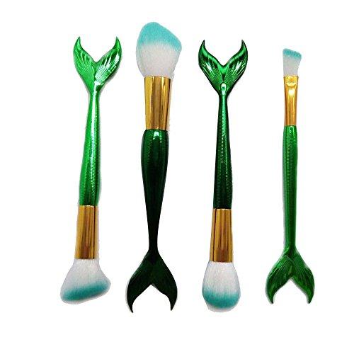 Fdrirect 4Pcs/Set Mermaid Makeup Brush Fish Tails Foundation