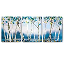 Wall Art for Living Room Wall Decor for Bedroom Abstract Canvas Wall Art Blue Yellow Tree Canvas Prints 12x16x3 Framed Wall Art Easy to Hang Wall Decorations Modern Popular Wall Decoration