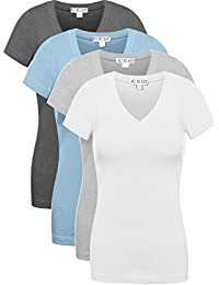 4 Pack Women's V Neck Short Sleeve Assorted Colors Basic T Shirts