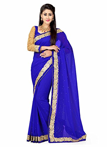 MrsIndia Eye-catching Fancy Pallu Saree in Royal Blue Color