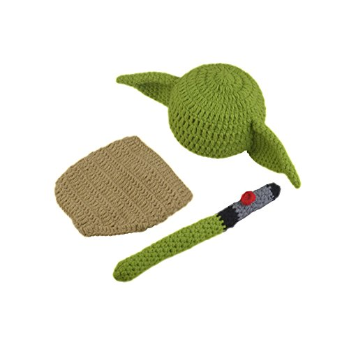 Pinbo Newborn Baby Crochet Photography Prop Yoda Hat Cover Diaper Costume by Pinbo (Image #1)