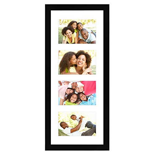 Americanflat Black Collage Picture Frame with 4 Openings - Made for 4x6-inch Photos - Perfect As a Family Collage Picture Frame or for Vacation ()