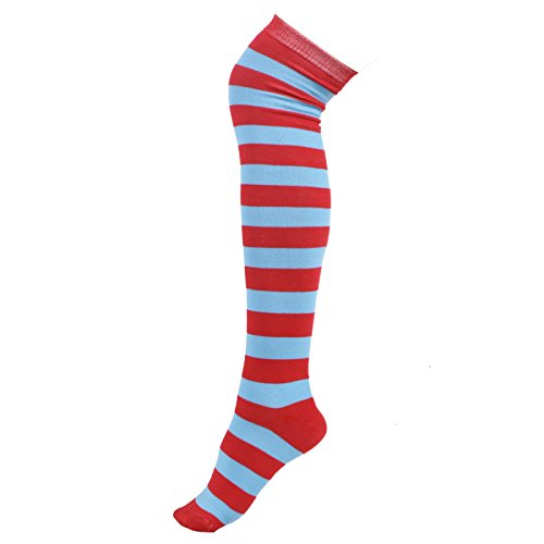HDE Women's Extra Long Striped Socks Over Knee High Opaque Stockings (Red Blue -