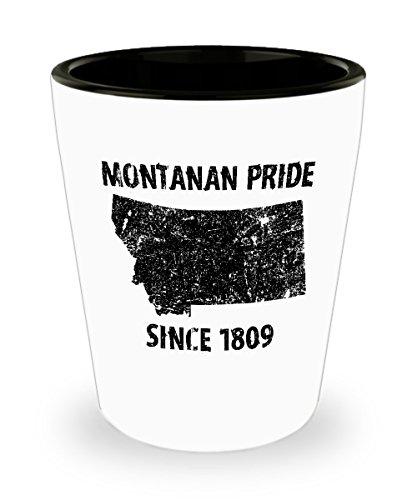 Montana Shot Glasses - Montanan Pride Since - One 1.5 oz Ceramic Shot Glass Made In The USA